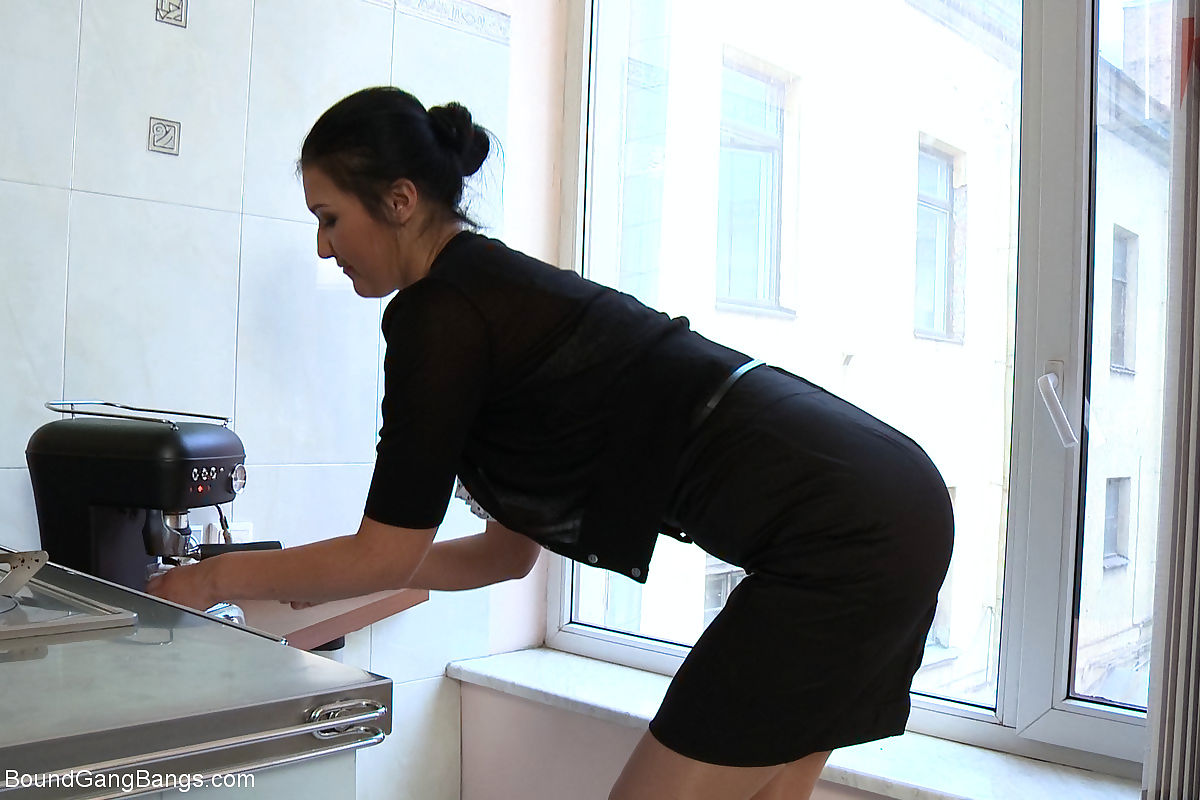 Hot secretary is taken down and bound by her boss who invites his friends to fuc - part 5