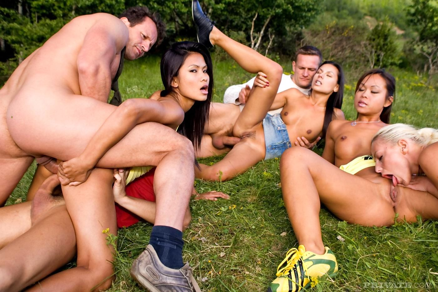 Asian pornstars gangbanged in outdoor orgy - part 1894