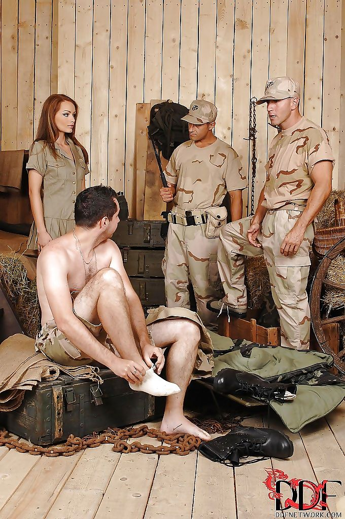 Gorgeous milf sophie lynx fucked by two guys in camouflage uniform - part 10
