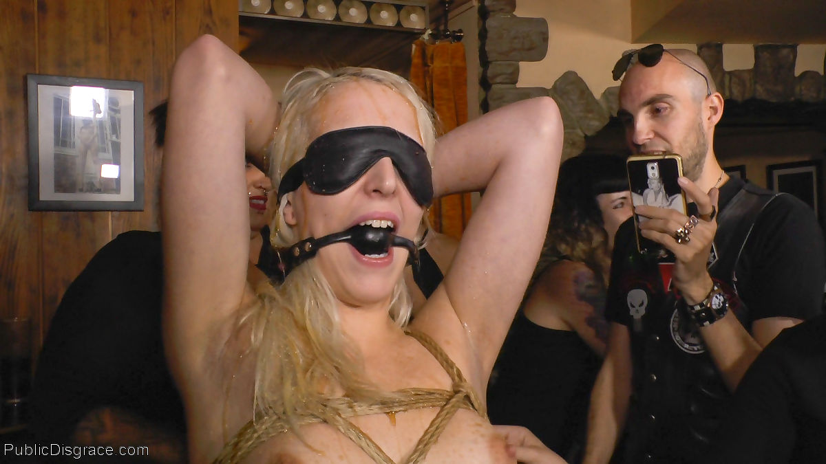 Gaged and blindfolded liz rainbow is lead into a crowded bar to gets what she ha - part 4