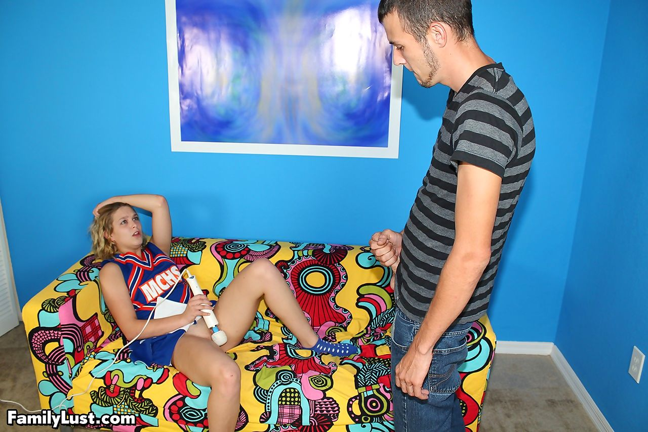 American redhead Abby Paradise gets banged after she masturbates on the couch