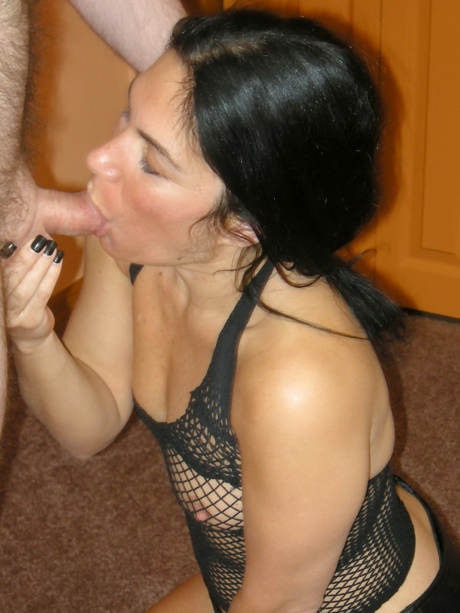 Dark haired amateur Cleo on her knees sucking & ball licking in sheer lingerie