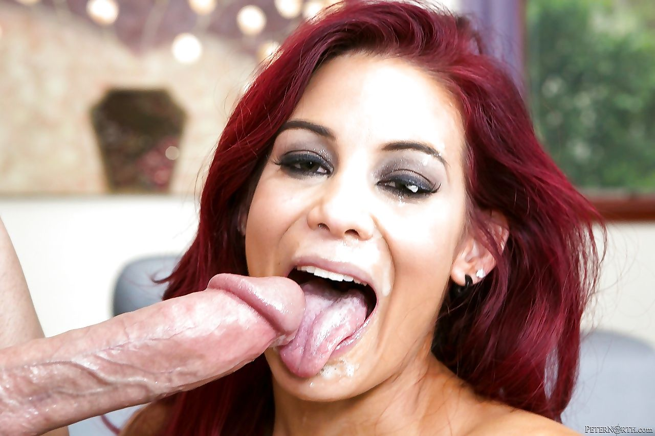 Hot redhead Ryder Skye licks balls & eats thick cum in reality seduction