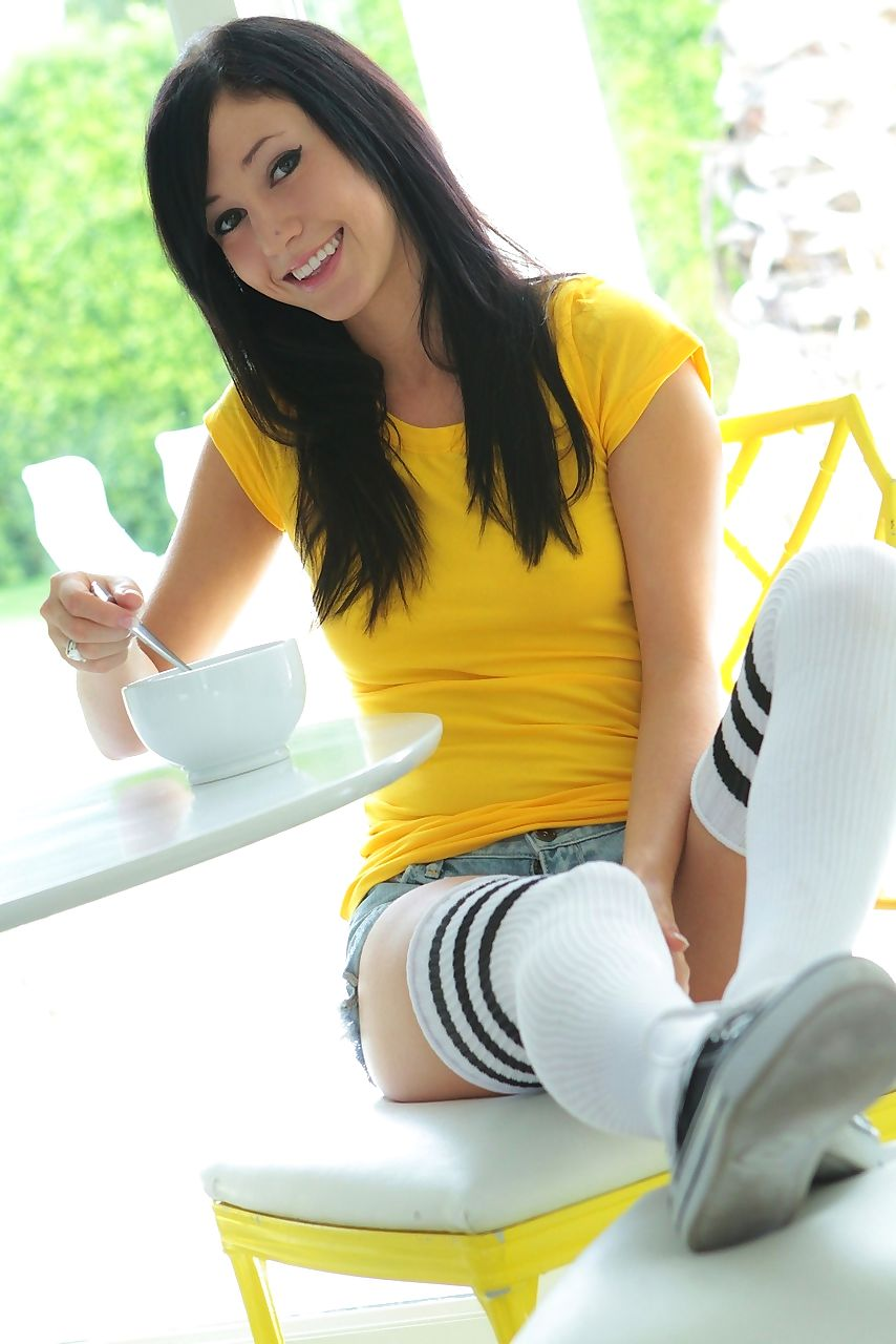 Dark haired amateur Catie Minx strips to thigh high socks in the sun room