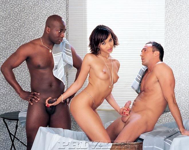 Asian pornstar does a DP with big black and white cocks after deepthroat show