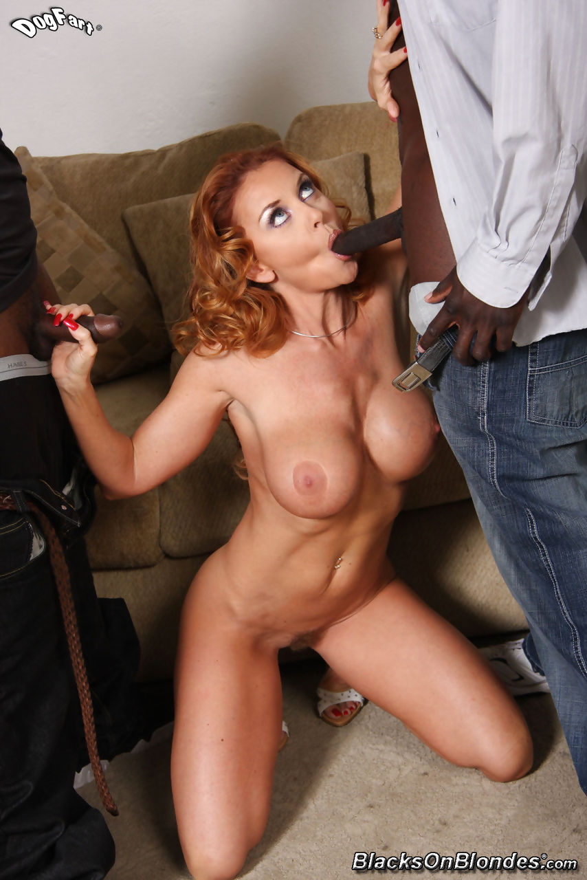 Horny hot redhead Janet Mason is dripping cum after this interracial gangbang