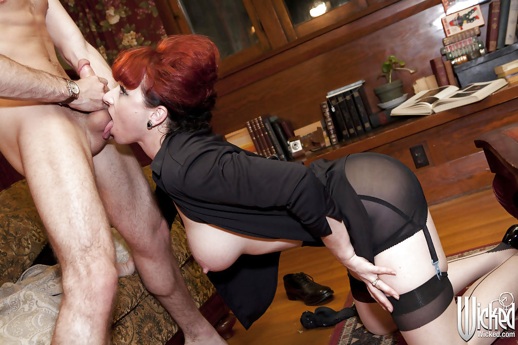 Juggy redhead MILF gets anally slammed and blows a boner off