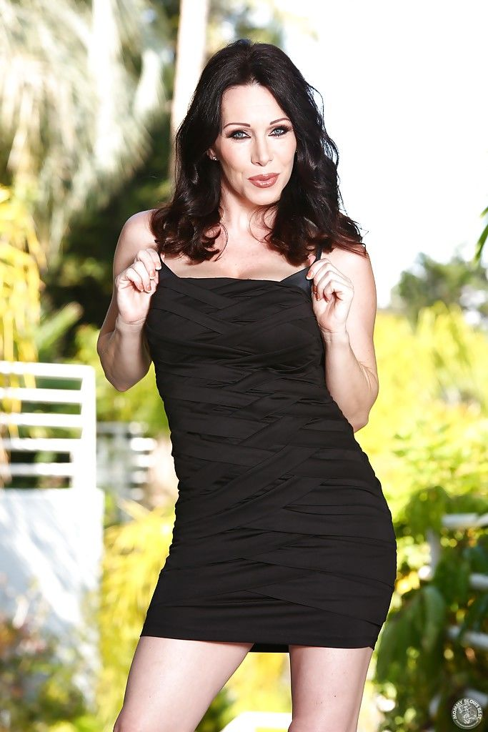 Brunette mom RayVeness flashing upskirt underwear underneath black dress