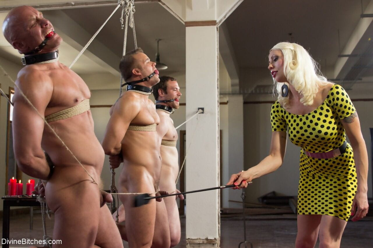 Wicked domme Lorelei Lee whips & humiliates three male subs bound in rope