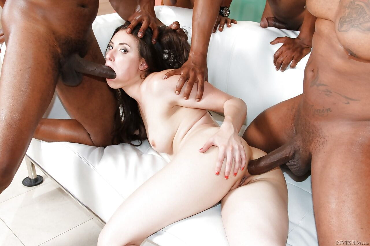 Casey Calvert gets double fucked by big black cock in interracial gangbang