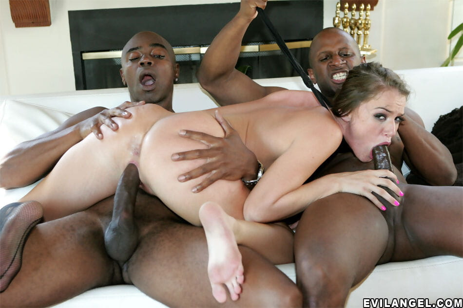 Slutty cutie Katie Cox is into interracial threesome fucking