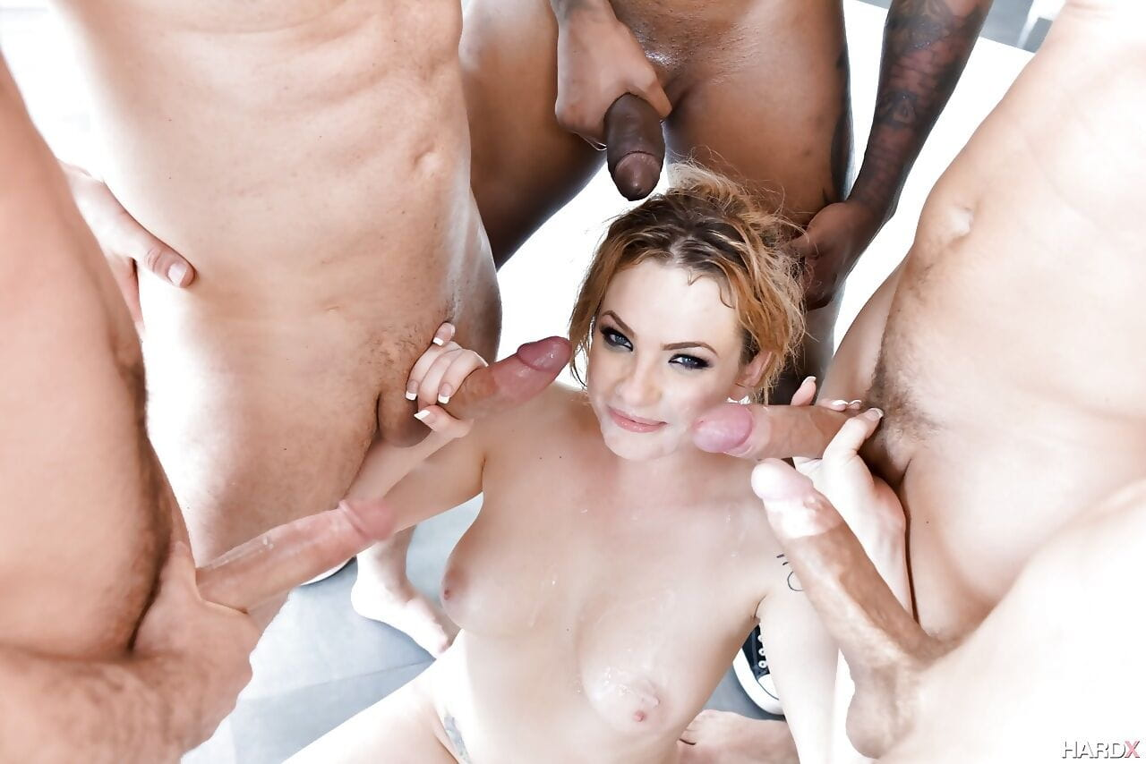 Pornstar Dahlia Sky double fucked in nasty gangbang and blowbang action