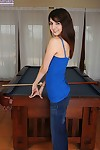 Slim teen Matti Parker shows her tight slit atop pool table in the nude