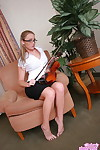 Nerdy chick puts down her violin before stripping naked other than her glasses